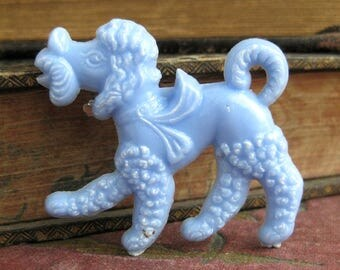 Vintage plastic dog brooch poodle pin kitschy plastic pin