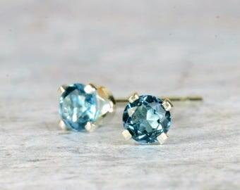 Blue topaz earrings, sterling silver and London blue topaz studs, 3mm, 4mm, deep blue gemstone earrings, December birthstone jewellery