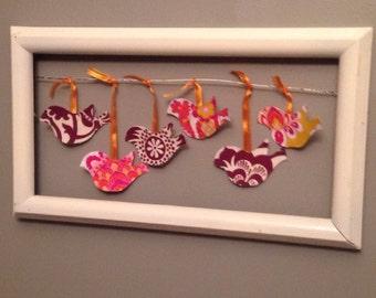 Bird Wall Decor, White Decoration, Pink Gold Fabric Birds, Texture For Walls, Playroom Decor