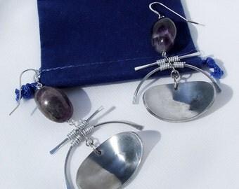 Aluminum Earrings, amethyst earrings, Modernist earrings, Abstract jewelry, lightweight earrings, purple earrings, Mid Century inspired