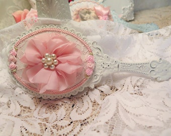 Hand Mirror Shabby  Chic Ornate White distressed Hand Mirror  Handmade fabric roses, pearl rosette, Shabby Romantic Vanity mirror