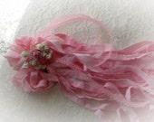 Pink Hand Dyed Ribbon  60 feet of narrow pink trim