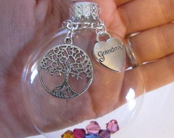 Grandma Custom Glass Everyday Ornament Tree Of Life, Grandchildren Swarovski Birthstone Crystals, Mother's Day For Grandma