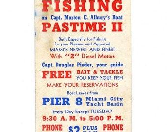 Vintage Fishing  Advertising Card, Deep Sea Fishing, Florida, Miami City Yacht Basin, 3 Dollars, Fishing on Pastime II, 1950 Vintage Card