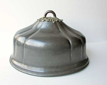 Antique Victorian 1880 Vintage Pewter Food Dome, Food Cover, Victorian Decor, Dining Table Centerpiece, Restaurant Decor, Statement Dome