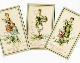 Set of 3 Antique Easter Greeting Cards c 1880. Victorian Easter Greeting Cards, Young Women w Flower Bouquets, Paper Ephemera