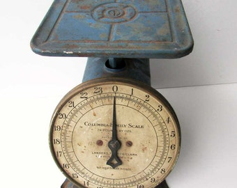Vintage 1920 Columbia Family Scale 24 Lb Kitchen, Shipping Scale in Time Worn Old Cobalt Blue Paint, Kitchen, Office Decor