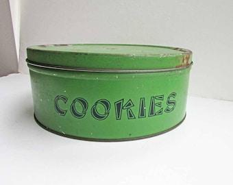 Vintage 1930 Jade Green COOKIES Counter Top Large Tin,  Storage Bin, Kitchen Decor, Pantry Shelf Tin, Rustic Cookies Tin