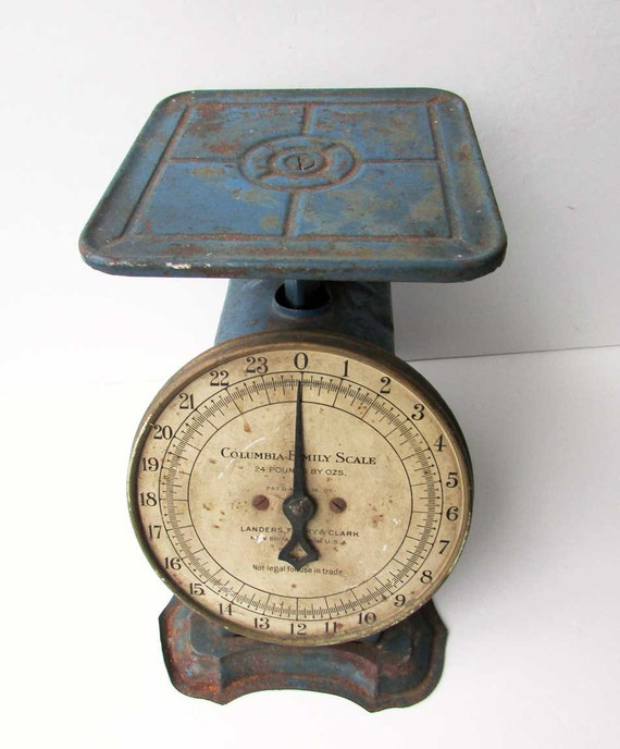 Blue Kitchen Scales: Vintage 1920 Columbia Family Scale 24 Lb Kitchen Shipping