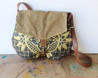 satchel • waxed canvas crossbody bag - geometric print • slate gray canvas - metallic gold geometric floral print • talavera