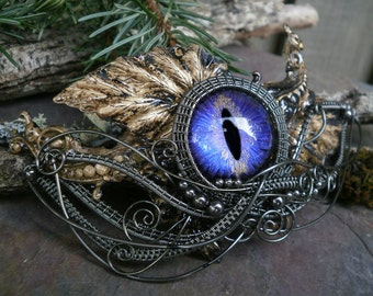 Gothic Steampunk Purple Blue Glass Eye Barrette Hairpiece