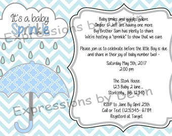 Umberlla Sprinkle  Baby Shower Boy Themed  5x7 Digtial Invitaion