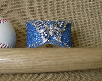 Baseball Bracelet, Baseball Cuff, OOAK  Brooch Cuff, Butterfly Bracelet