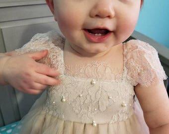 Ballade del Vientre Blush Flower Girl Dress/ Birthday Tutu Dress/ Baby Photoshoot outfit/ Baby Tutu Dress/ Baby Girls 1st Birthday