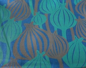 Opium Poppy Pods - Hand Printed cotton fabric - half yard