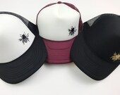 Trucker Hat, Women's Bee Hat. Gold, Black, Burgundy, Maroon, Green,  Adjustable Snapback Cap.