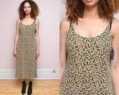 Vintage 90's SUNFLOWER Floral Print Maxi Dress // GRUNGE Ditsy Oversized Tank Dress -  Size S M L