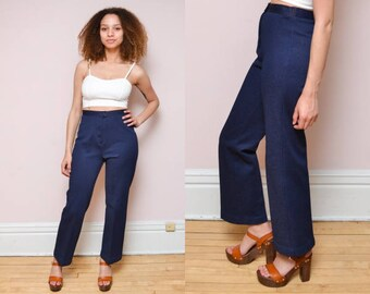 Vintage 70s High Waisted Blue Polyester Trousers // HIGH WAIST Stretchy Wide Leg Pants