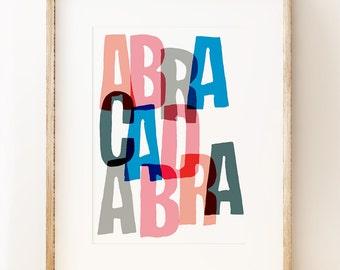 Abracadabra - children's hand lettering nursery wall art print