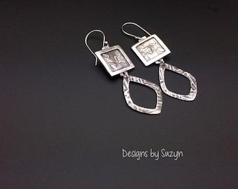 ON SALE Earrings, silver, tribal, artisan, handmade, large dangle