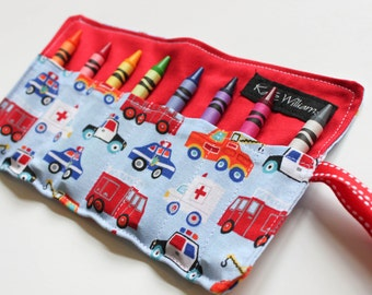 Fire Truck Police Car Emergency Vehicle Crayon Holder-Boy Crayon Roll-Boy Easter Basket Gift-Boy Stocking Stuffer-Boy Birthday Party Favor