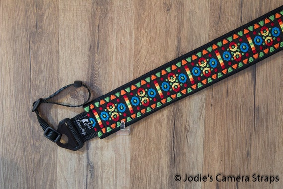 Camera Strap 2 in Wide Custom Padded Vintage Woven Circles Triangles Red Blue DSLR SLR