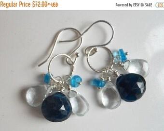 FLASH SALE 20% OFF, Blue Apatite and Aquamarine Loop Earrings, Cluster Earrings, gemstone earrings