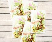 Bunny & Mushroom Swap Cards (5) Vintage Single Swap Playing Cards Paper Ephemera -- Bunnies, Flowers, Mushrooms
