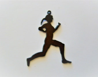 Runner Rustic Recycled Metal Pendant Cutout
