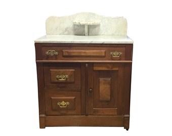 1800s Side Table Cabinet | Marble Top | Burl Wood Drawers | Brass Pulls | Vintage Storage | Antique Cabinet | Old Furniture