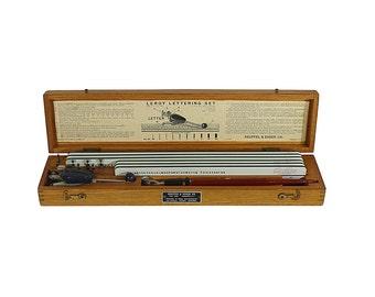 K & E Lettering Set | Drafting Kit | Early Leroy | Vintage Office | Hardwood Box