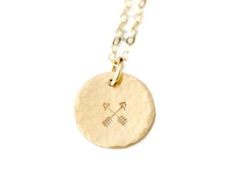 BFF Gifts, Crossed Arrows, Friendship Necklace, Disc Charm Necklace, Gold, Rose or Silver Friendship Jewelry, Simple Necklace, Sister Gift