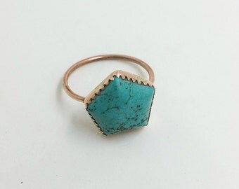 Turquoise Magnesite and Copper Stacking Ring