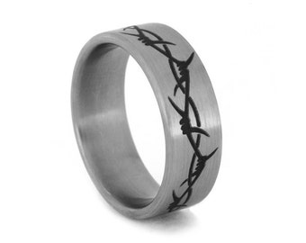 Barbed Wire Jewelry, Engraved Ring with Barbed Wire Design on Titanium Ring, Barbed Wire Tattoo type ring