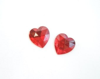 Pair of Vintage Red Glass Faceted Heart Cabochons