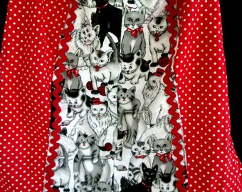Black Cats and Red  Fabric Pillowcase Dress