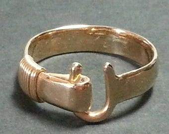 Vintage mens 14k gold hook ring handmade Sonya Ltd St Croix Virgin Islands
