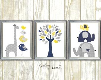 Navy blue yellow and gray Nursery art print Baby boy room decor Kids wall art elephant nursery giraffe bird Tree - Set of three prints