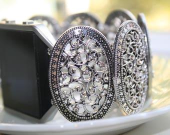 Fitbit Blaze Watch, Fitbit Blaze Silver Jewelry, Silver Plated Jewelry, Fitbit Blaze Filigree Jewelry, Fitbit Blaze Band