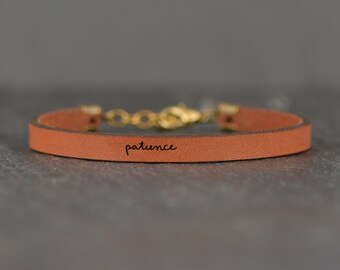 patience - adjustable leather bracelet  (additional colors available)