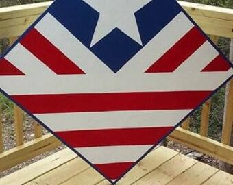 Barn Quilt.  Flag Patriot Red White Blue