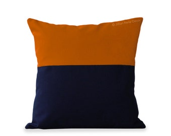 OUTDOOR Pillow Cover - Pumpkin Orange and Navy Colorblock (20x20) by JillianReneDecor, Modern Summer Home Decor, Two Tone, Luxe Magazine