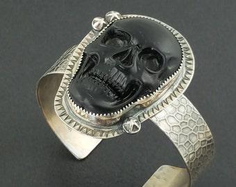 Black Onyx Skull Cuff, skull cuff, skull jewelry, skull, carved skull, black and silver, sterling silver, boho, bohemian, skull bracelet