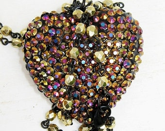 ON SALE Rhinestone Heart Necklace, Puffed Heart Necklace, Pink, Gold, Blue, Purple, Pendant Necklace,  Heart Necklace, Colorful Heart, Large