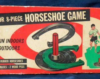 Vintage Rubber Horseshoe Game with Original Box /Childrens Toy c. 1960