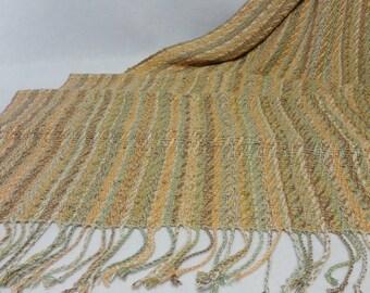 Handwoven Shawl, Summer Shawl, Beach Shawl, Wedding Shawl, Wedding Stole, Summer Stole, Handwoven Rayon Shawl, Peach Shawl  #17-06B