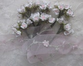 59 pc Chic PINK Polymer Clay Wired Rose Flower Applique Bridal Bouquest Craft Embellishment
