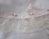 Vintage Like Ruffle Pleated Tulle Ivory Lace w Satin Rose Bud Flower Pink Ribbon Trim Doll Baby Clothing