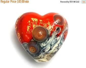 ON SALE 35% OFF Fire Island Treasure Heart Focal Bead - Handmade Glass Lampwork Bead - 11819905