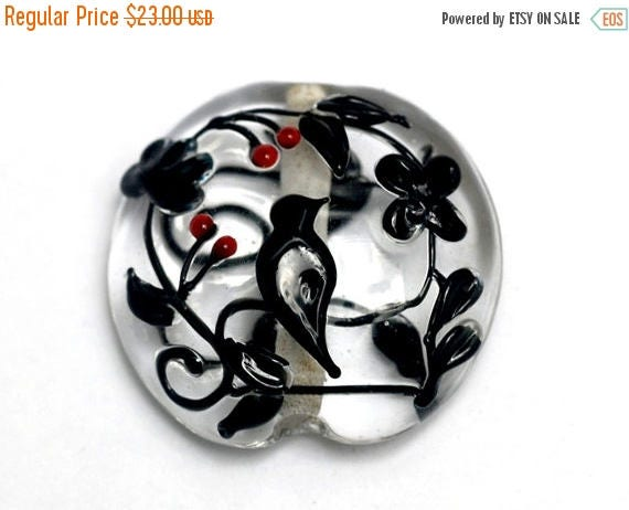 ON SALE 40% OFF Glass Lampwork Bead - Tranquility Vines Lentil Focal Bead 11830302